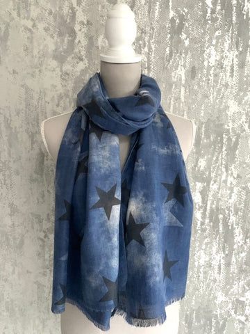 Blue Mottled Star Scarf