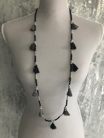 Black Single Layer Tassel Necklace