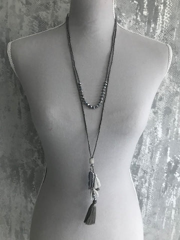 Grey 2 Tiered Necklace With Feather & Tassel