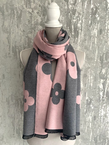 Pink & Grey Reversible Flower Scarf