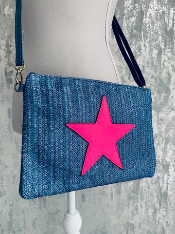Navy And Pink Neon Weave Bag