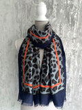 Navy Leopard Scarf With Orange Stripe