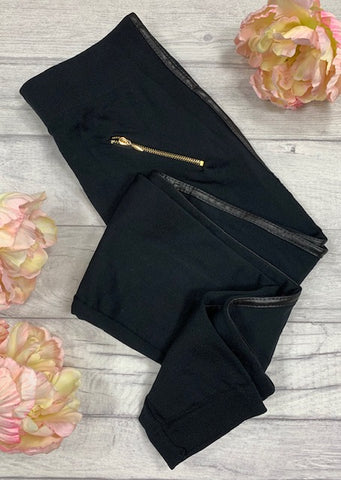 Black Fleece PU Stripe Leggings