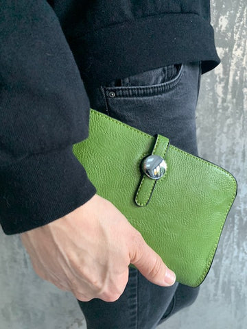 Green Wallet with Purse & Card Holder