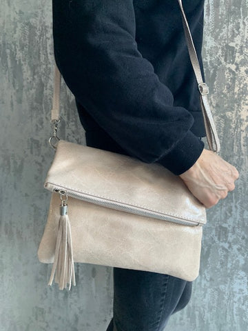 Beige Foldover Leather Clutch Bag