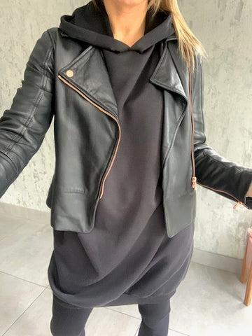 Black Long Hooded Sweatshirt Dress