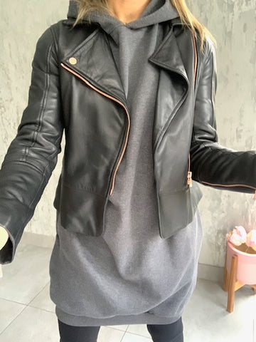 Dark Grey Long Hooded Sweatshirt Dress