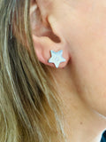 Silver Star With Tiny Diamante Earrings