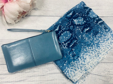 Blue Snakeskin Scarf & Purse Gift Set