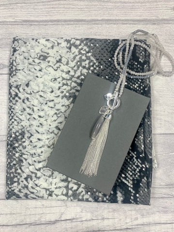 Grey Snakeskin Scarf & Necklace Gift Set