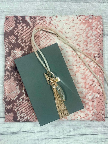 Pink Snakeskin Scarf & Necklace Gift Set