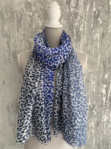 Blue Ombre Leopard Scarf