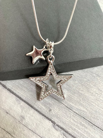 Short Silver Double Star Necklace