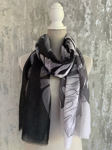 Black Palm Print Scarf