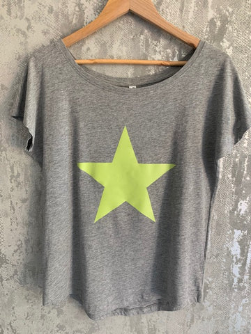 Grey & Lime Slouchy Star T-Shirt - Size Small