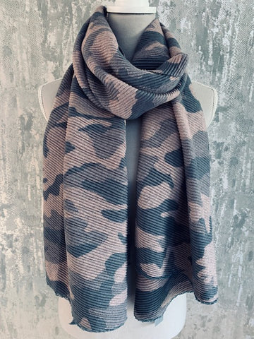 Pink Camo Pleat Scarf