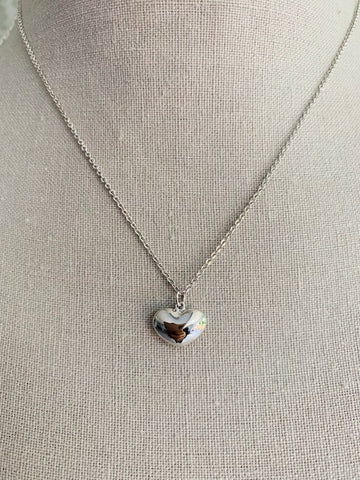 Delicate White Gold Heart Necklace