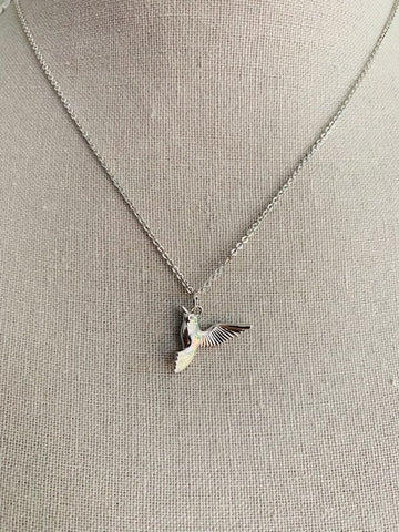 Delicate White Gold Hummingbird Necklace