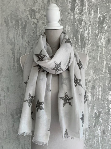 Light Grey And Silver Star Scarf