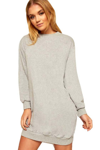 Grey Slouchy Sweatshirt Dress