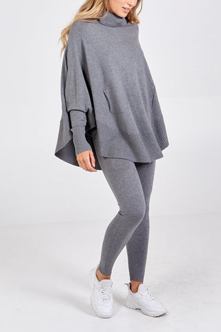 Grey Knitted Poncho Set