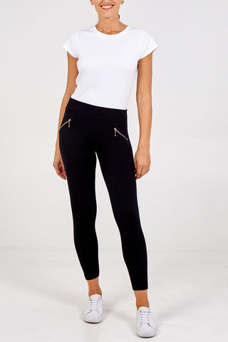 Black Supersoft Zip Leggings - Mid Waist