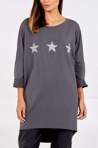 Grey Star Tunic Sweatshirt