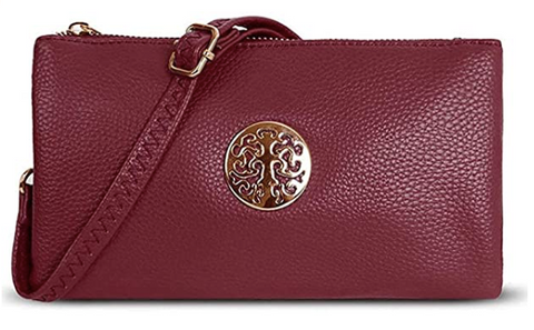 Wine Crossbody Clutch Emblem Bag