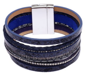 Navy Faux Leather Cuff Bracelet