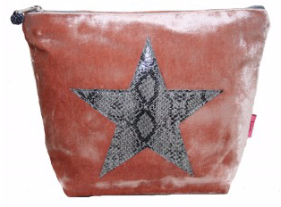 Lua Large Blush Snakeskin Star Cosmetic Bag