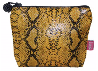 Lua Snakeskin Star Coin Purse, Mustard