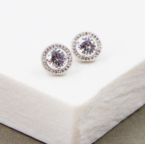 Classic CZ Stud With Surround Earrings