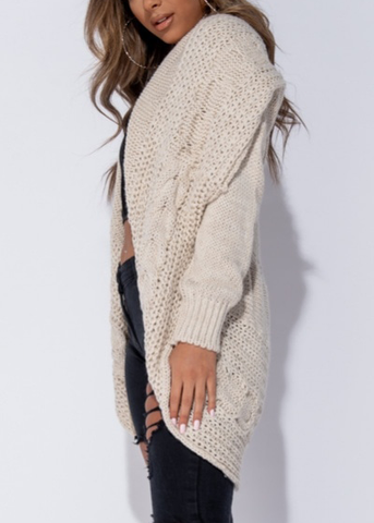 Oatmeal Chunky Knit Cocoon Cardi