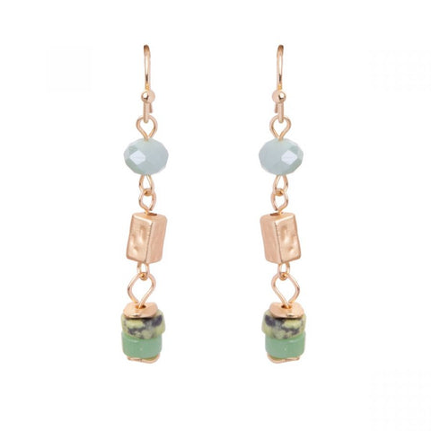Green & Gold Semi Precious Earrings