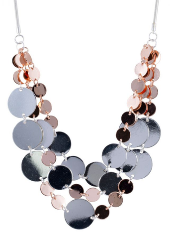 Short Mixed Disc Necklace