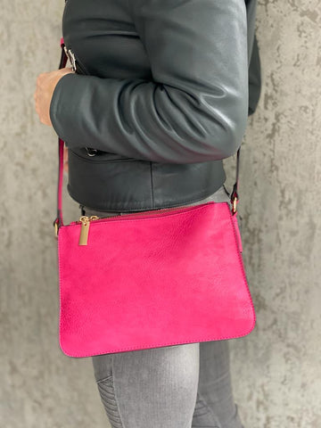 Pink Triple Zip Crossbody Bag