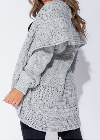 Pale Grey Chunky Knit Cocoon Cardi