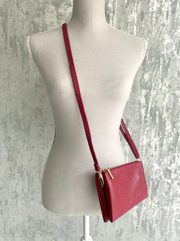 Small Wine Crossbody Clutch Bag