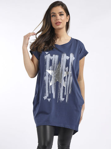 Denim Metallic Star Pocket Tunic Top