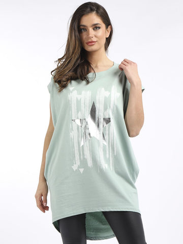 Pistachio Metallic Star Pocket Tunic Top