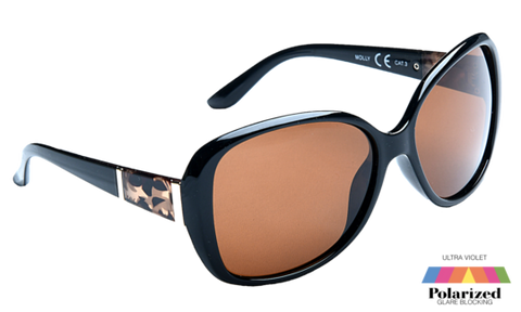 Molly Polarized Sunglasses - Black with Brown