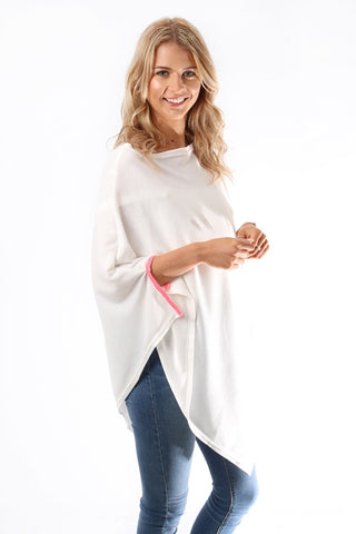 White Poncho with Neon Pink Detail