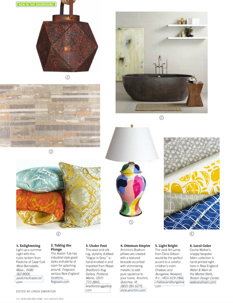 Textiles Featured in New England Home Magazine July/August 2016