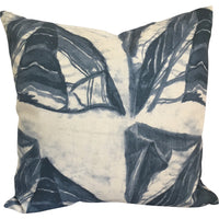 Leaf Abstract Pillow in Marine on White