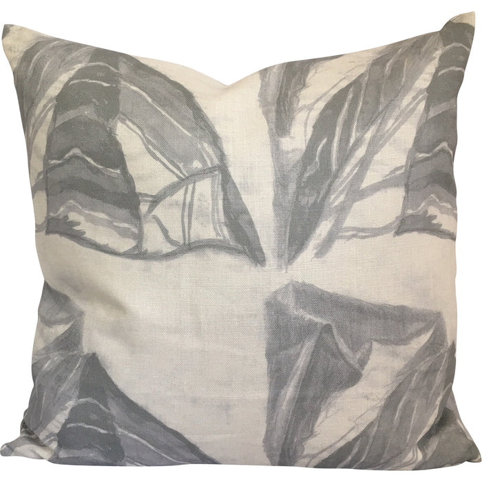 Leaf Abstract Pillow in Grey on White