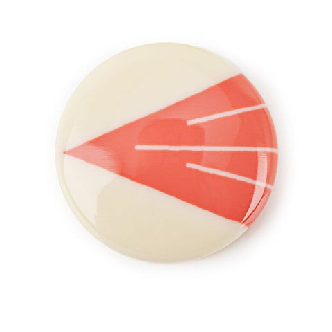 Luxor brooch inlayed in coral pink and ivory white
