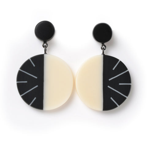 Monochrome geometric statement drop earrings
