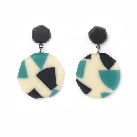 Oversized drop earrings handmade from teal, blue and white resin