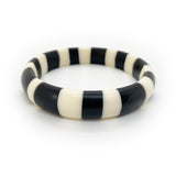Black and white candy stripe resin bracelet