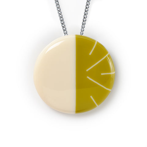mustard green geometric resin necklace, perfect for colour blocking